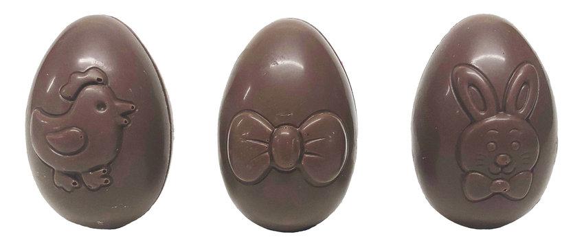 Assortment of hollow, playful eggs, milk chocolate